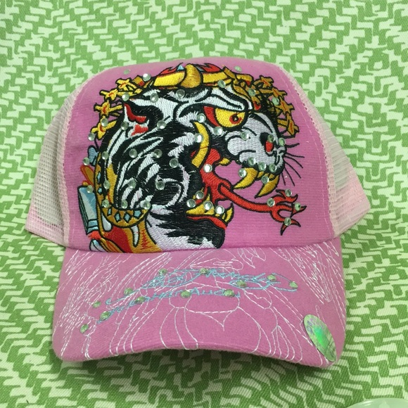 d4c679a9d29 NWT Pink Ed Hardy Hat blinged out